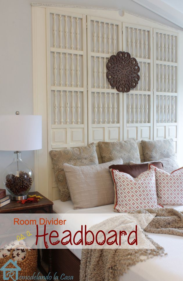 how to turn an old room divider into a fabulous king size headboard!