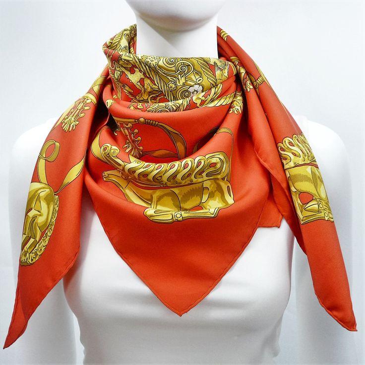 Authentic Vintage Hermes Silk Scarf Les Cavaliers D'Or Orange