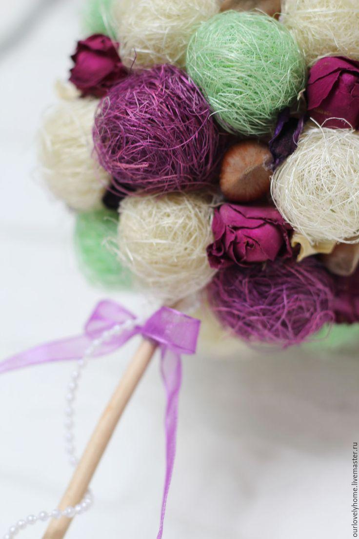 """Купить Топиарий """"Фиолет"""" - фиолетовый, топиарий, Дерево счастья, мятный, топиарий из сизаля, декор дома"""