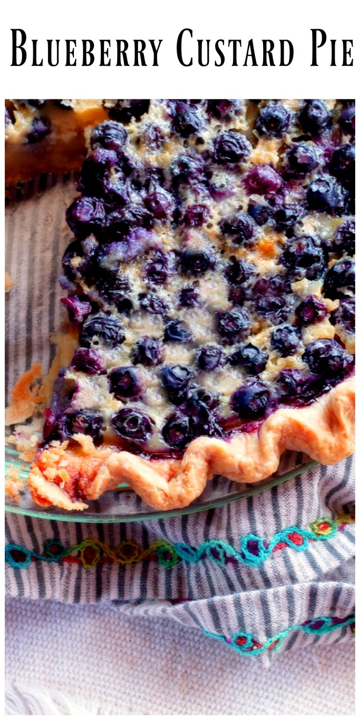 Homemade Blueberry Custard Pie...fresh blueberries nestled in a creamy custard filling, it doesn't get any better than this.  via @https://www.pinterest.com/BunnysWarmOven/bunnys-warm-oven/
