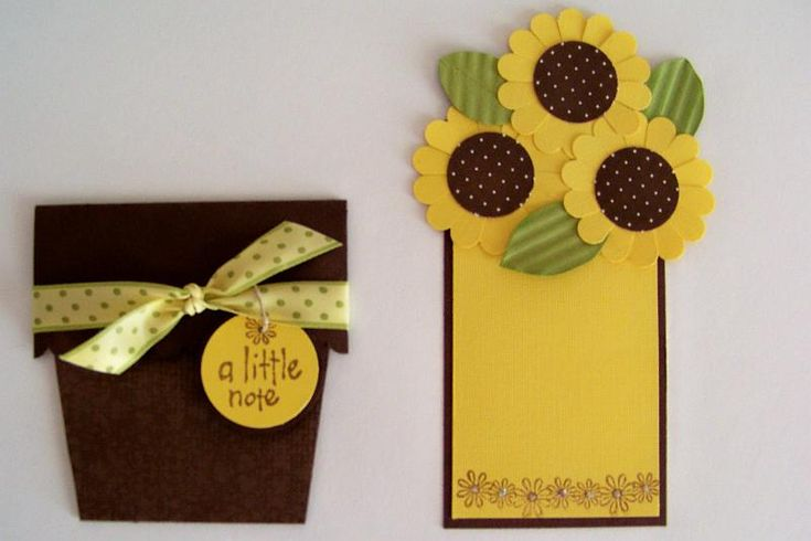 Sunflower Card - also use Sunflower Flower to make peppermint pattie favors