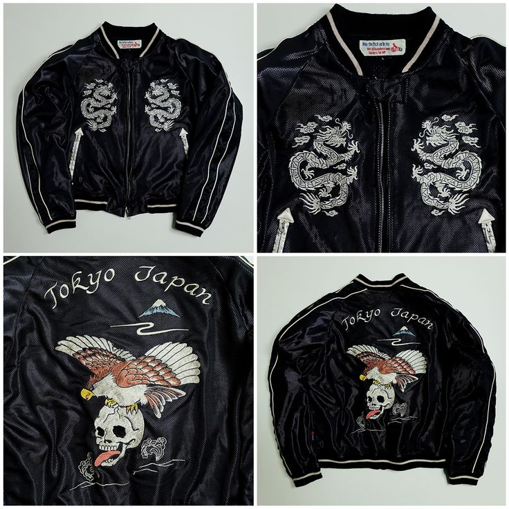 Punk Rock Vintage Japanese Japan PICK UP Rockabilly Skull Skeleton Dragon Eagle Bird TOKYO Tattoo Art Embroidery Embroidered Bomber Sukajan Souvenir Mesh Jacket - Japan Lover Me Store