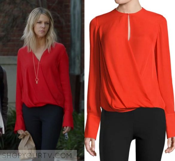 """The Mick 1x15 - Mackenzie """"Mickey"""" Murphy (Kaitlin Olson) wears this red long sleeved wrap blouse in this episode of The Mick, """"The Sleepover"""". It is the Rag & Bone Max Long-Sleeve Silk Blouse, Fiery Red."""