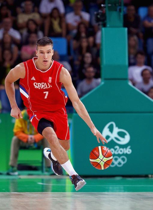 Bogdan Bogdanovic in action against Croatia at the Men's Basketball Quarterfinal game at the 2016 Olympic Games in Rio on August 17, 2016...