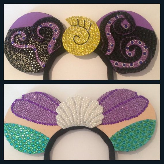 Reversible The Little Mermaid Disney Ears, Ariel & Ursula. Disney inspired Mickey Minnie Mouse Ears. Disneybound. UK international shipping.