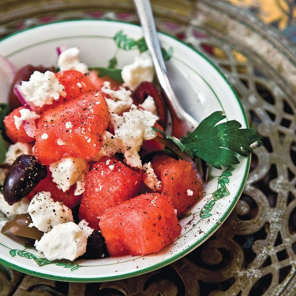 In this summer salad, watermelon is a sweet counterpoint to the briny pungency of feta and olives.