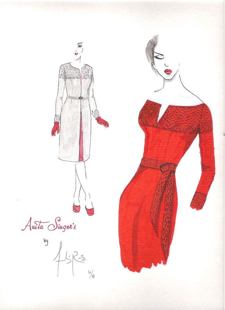Ilustracion Vestido y Abrigo  Ana león By Anita singers. Por Andres Ruiz Ilustrador. www.facebook.com/pages/Anita-Singers/565541916806170