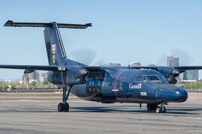 """A Royal Canadian Air Force (RCAF) de Havilland Canada CT-142 Dash-8 """"Gonzo,"""" from the No. 402 """"City of Winnipeg"""" Squadron, getting ready to depart Phoenix Sky Harbor International Airport."""