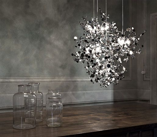 With this new suspension #light, designer DoDo Arlsan creates a shimmering, silver cloud. #Argent consists of metal discs that have been metic...