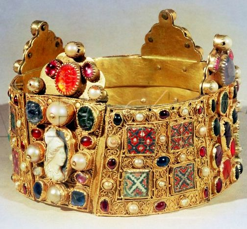 """The Crown of Hildesheim, showing a cameo and flat plaques of venetian-style patterned glass used as """"gems"""". Cathedral of St. Maria, Hildesheim, Germany"""