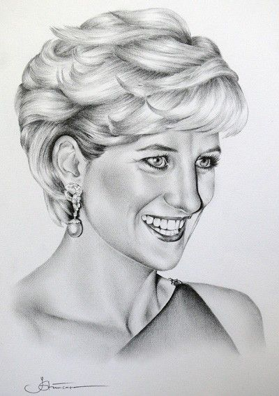 2 Princess Diana Original Pencil Drawings Portrait Fine Art Woman Crush And