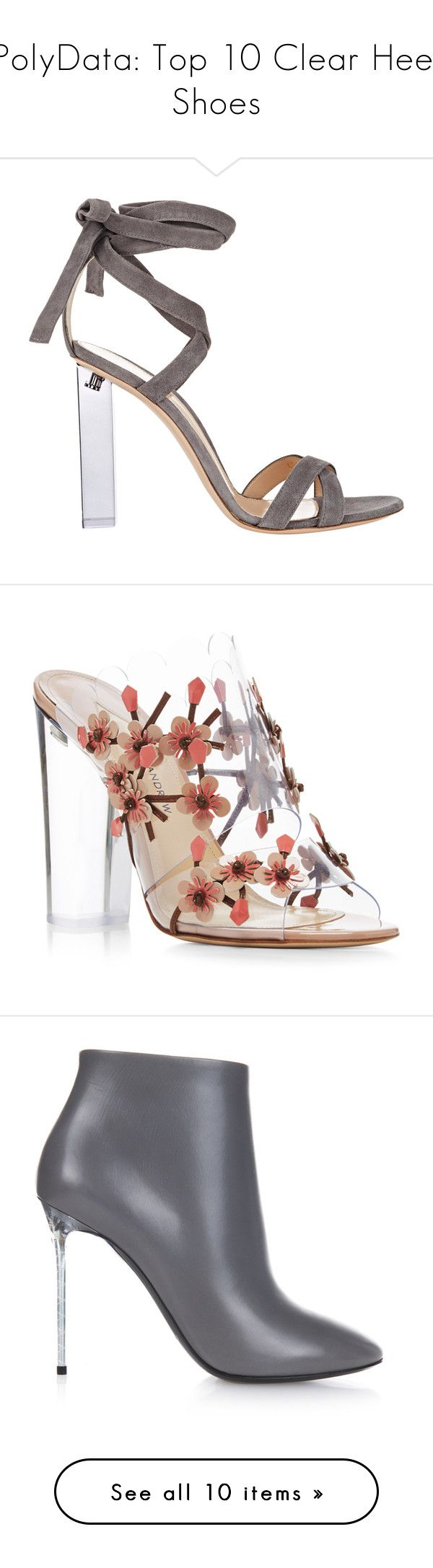 """""""PolyData: Top 10 Clear Heel Shoes"""" by polyvore ❤ liked on Polyvore featuring clearheels, polydata, shoes, sandals, heels, chaussures, high heels, colorless, grey shoes and grey heel sandals"""