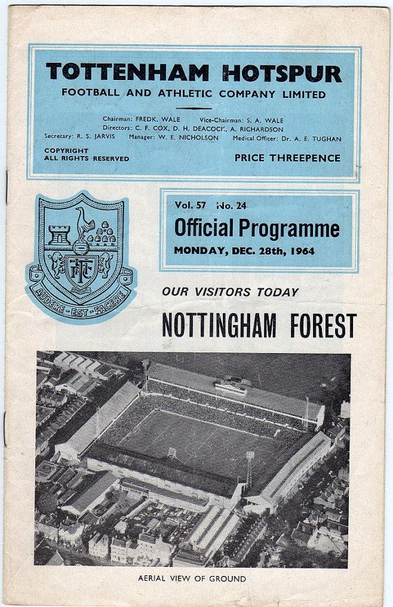 Vintage Football (soccer) Programme - Tottenham Hotspur v Nottingham Forest, 1964/65 season #football #soccer #spurs