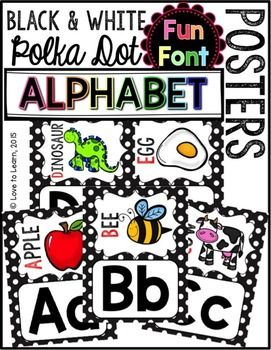 Looking for some new classroom decor? Redecorate with these black & white polka dot {fun font} alphabet posters. A student picture dictionary, full- & half-page posters included!