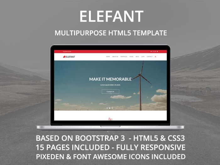 Elefant is clean and responsive multipurpose HTML Site Template. It's built on latest Boostrap framework.