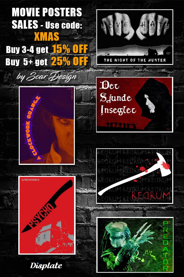 XMAS SALES MOVIE POSTERS!  Grab your Xmas gifts - Use code: XMAS. Buy 3-4 get 15% OFF.  Buy 5+  get 25% OFF  #poster #displate #homedecor #family #movieposter #onlineshopping #sales #discount #save #movies #film #cinema #predatormovie #theshiningmovieposter #thenightofthehunter #aclockworkorange #tvshow #psychomovieposter #christmasgifts #xmasgifts #gifts