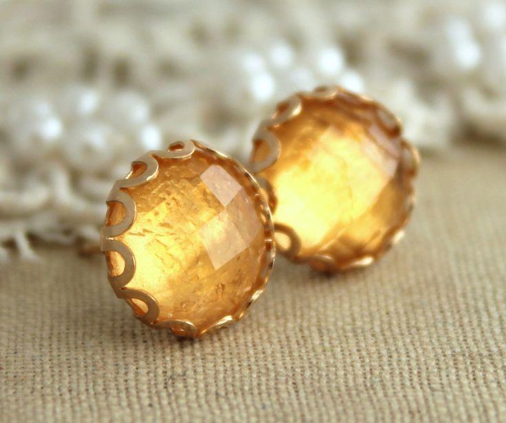 Citrine studs,Citrine gemstone earrings,gift for woman, bridesmaids earrings,November birth stone,gift for her,Yellow Citrine earrings
