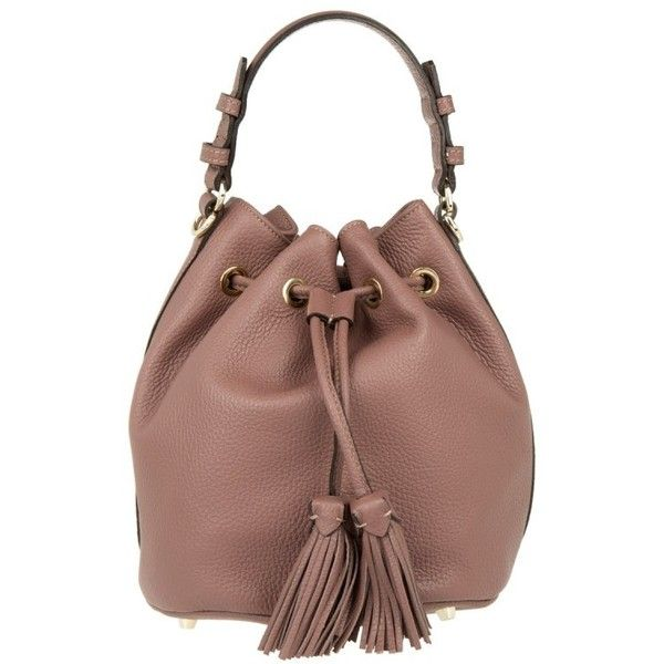 Abro Adria Leather Bucket Bag Rosa in rose, Shoulder Bags ($200) ❤ liked on Polyvore featuring bags, handbags, shoulder bags, rose, leather hand bags, shoulder handbags, leather shoulder handbags, leather man bags and brown leather purse