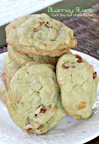 Blarney Stones | Pistachio-flavored butterscotch chip cookies - great for St. Patrick's Day! Made as directed except I used stand mixer, bleached AP flour (adding a bit at a time), and I refrigerated the dough for a couple of hours. Mine turned out more risen than the ones pictured. Delicious!!