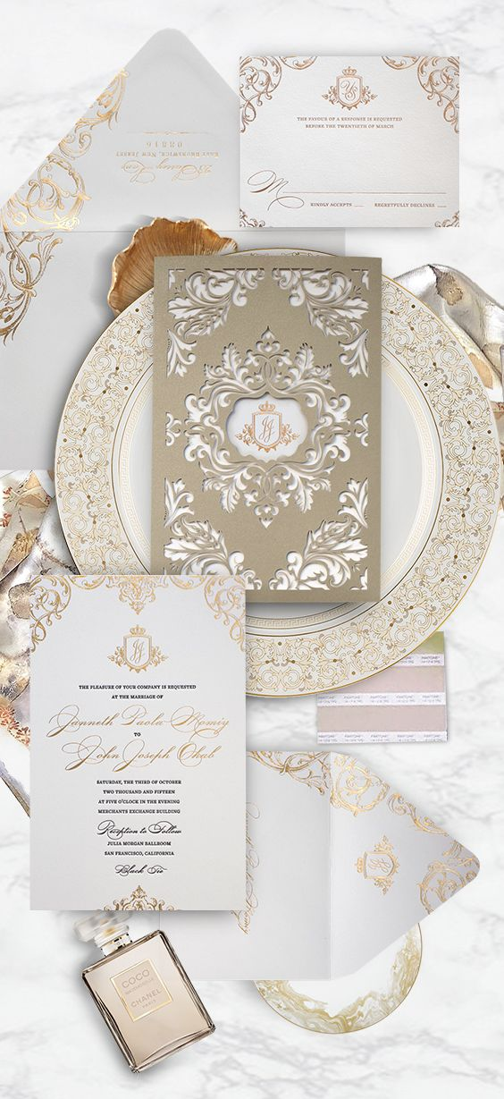 a23eee0a6882 Custom letterpress and foil wedding invitation with laser cut sleeve in an  ornate