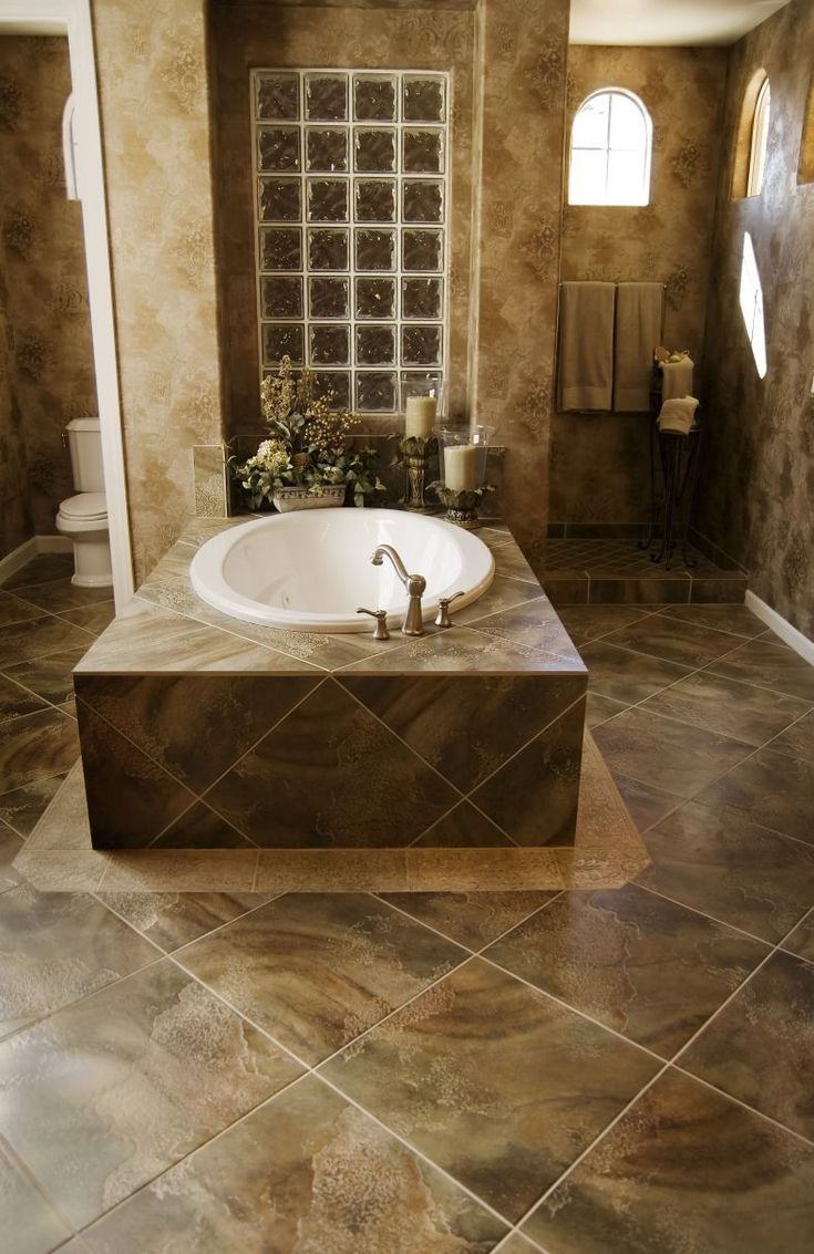 Bathroom Luxury Tile Pattern Floor And Wall With White Bath Tub At The  Center Picking Some
