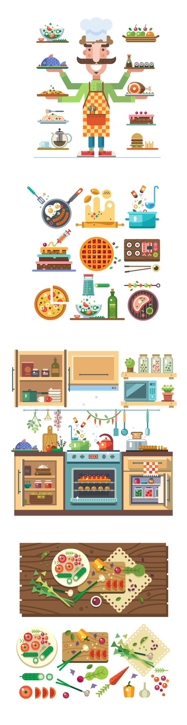 Tasty Vector  https://www.behance.net/gallery/27165447/Magic-kitchen