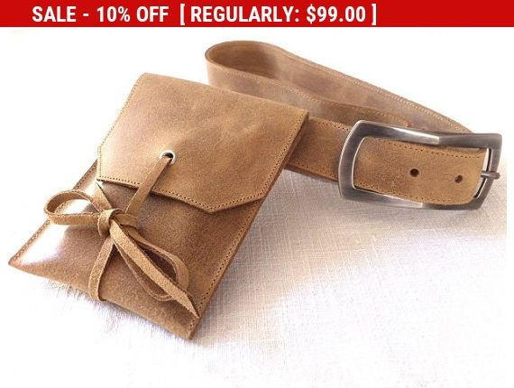 Beautiful handcrafted natural brown leather belt pouch, small pouch, cell phone pouch, case, detachable belt, gunmetal buckle, unisex.