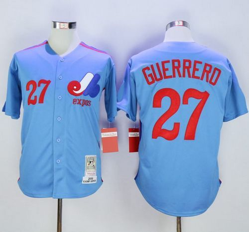save off 1ce85 0b82c Mitchell and Ness Expos #27 Vladimir Guerrero Blue Stitched ...