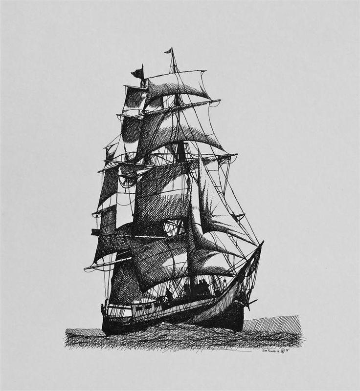 Pirate Ship Tattoo Sketch                                                                                                                                                                                 Más