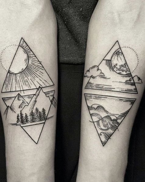 This tattoo covers the four elements in the most gorgeous way. Both simple and complex at the same time, it perfectly represents each different element.