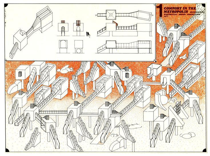 1977 COMFORT IN THE METROPOLIS_TOKIO _carta da lucido cm.60 x 85_by Brunetto De Batté