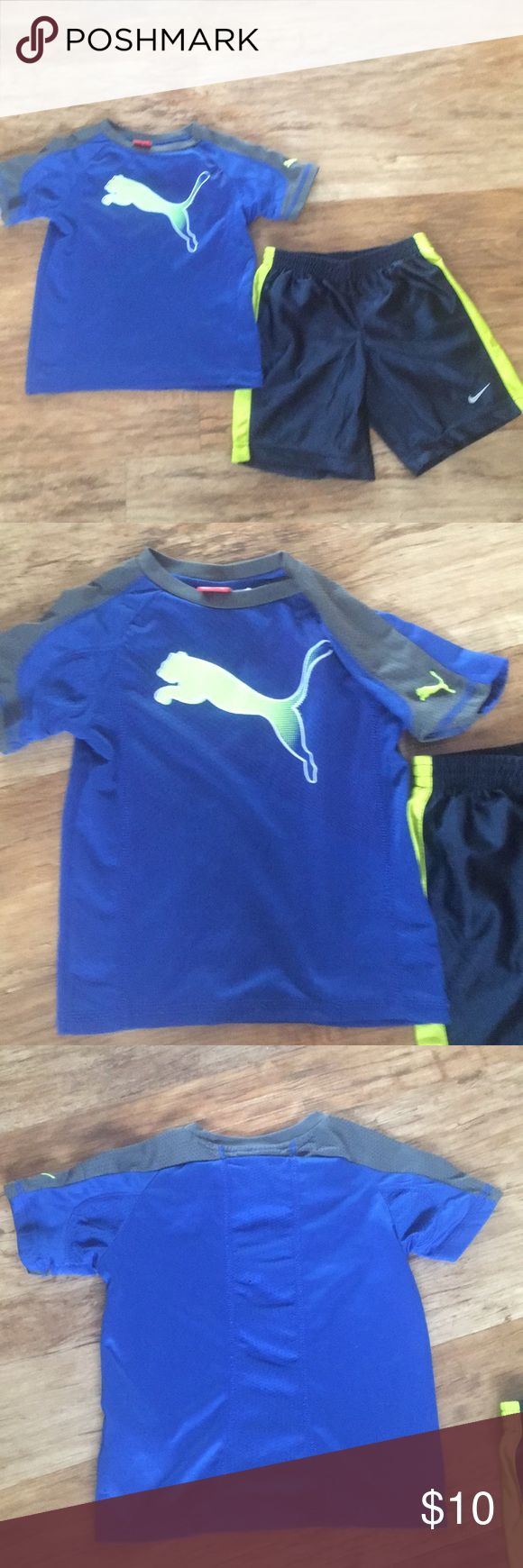 Size 5 Boy non matching Puma shirt and Nike short. Puma size 5 shirt and size 5 Nike short. They do not match and do not go together. Both are very cute and my sons favorite colors. Puma Bottoms Shorts