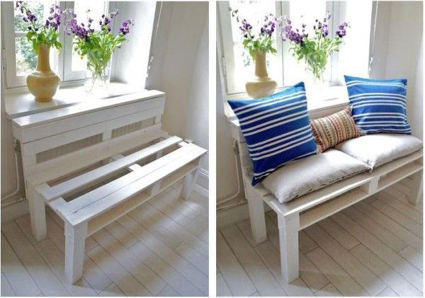 With a lot of pillows and a mattress this would be a great sofa for the kids. Made from pallets.