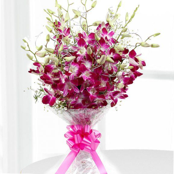 Tender Heart Purple Orchid Bouquet Online Flower Delivery Flowers Online