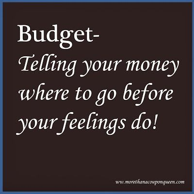 Budget - Telling your money where to go before your feelings do.  It's hard to put feeling aside when it comes to money. A budget can help you buy what you need and want without the regret.