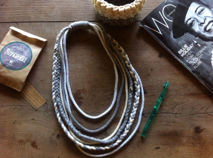 Etno necklace made of cotton tshirtyarn handmade jewelry