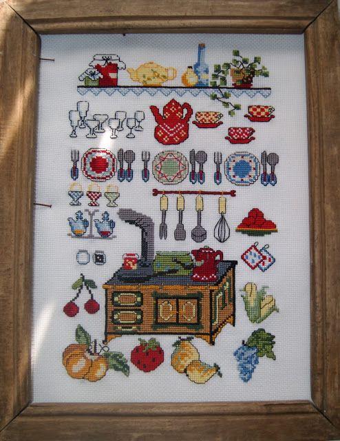 Лавандовый домик: Вышивка кухонная