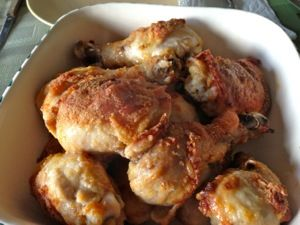 Oven Baked Chicken using Bisquick ~ This was so easy and delicious! I used just thighs since that's what I had. Added some garlic powder as well. It's a keeper!