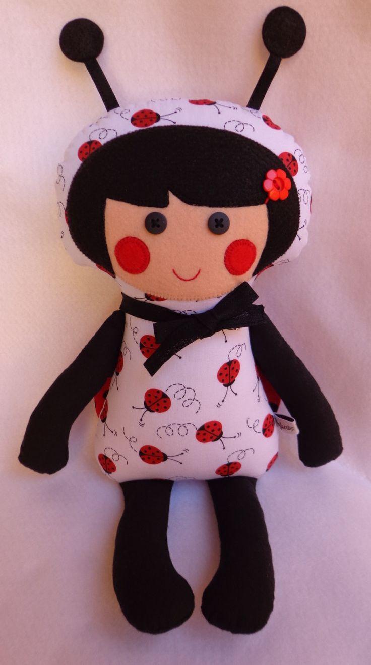 ladybug doll, ladbug, dolls, handmade doll, gifts of girl, girl things, soft doll by dollsfofurasbyleila on Etsy