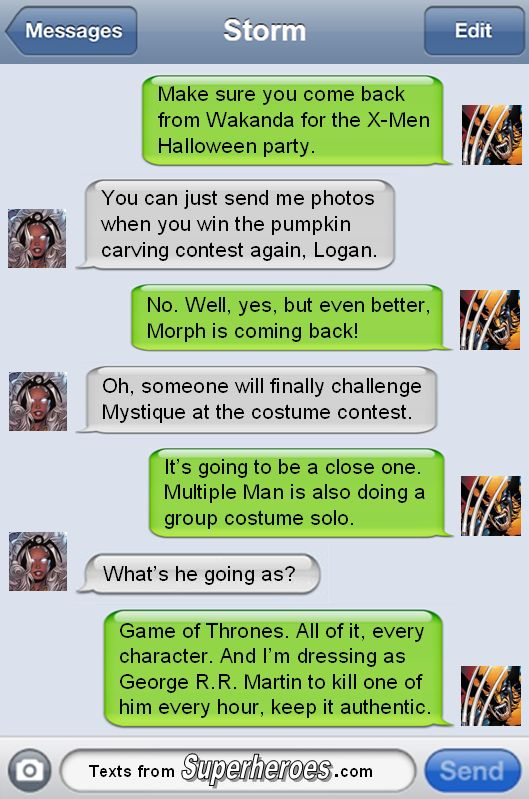 "textsfromsuperheroes: "" Happy Halloween from Texts From Superheroes! """