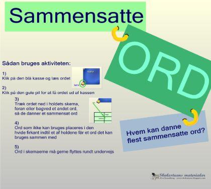 """Smart Notebook-lektion fra www.skolestuen.dk - """"Sammensatte ord"""" - Dansk-aktivitet. En ordleg, hvor det handler om at danne flest sammensatte ord. Kan spilles af op til 3 deltagere/hold ad gangen."""