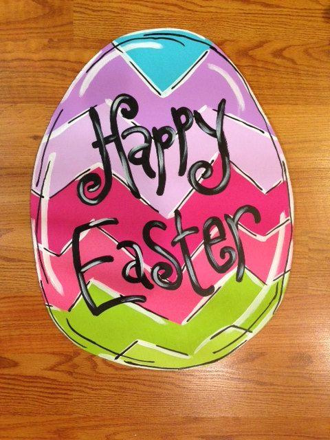 Chevron Easter Egg Door Hanger Happy Easter Decor Wood ...