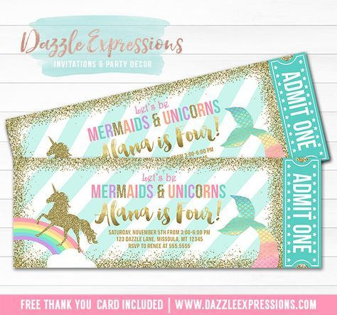 Printable Mermaid and Unicorn Ticket Birthday Invitation | Mint, Turquoise, Pink, Gold Glitter and Rainbow | Under the Sea | UMagical Girls 1st Birthday Party | Horse or Pony Party | DIY Print Your Own | Digital File | FREE thank you card included | Printable Matching Party Package Decorations Available! | Banner | Signs | Labels | Favor Tags | Water Bottle Labels and more! www.dazzleexpressions.com