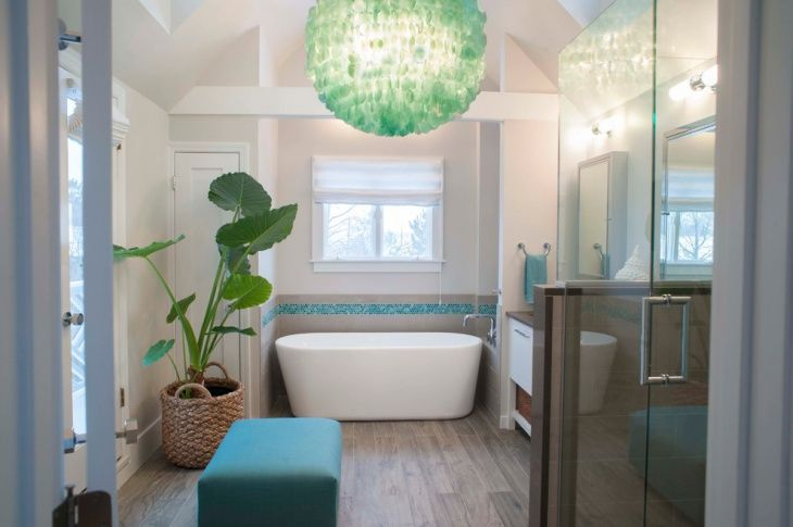 Coastal Bathroom With Chandeliers