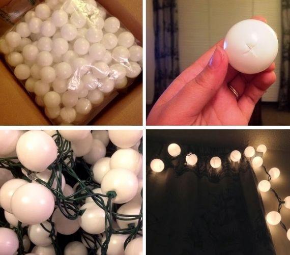 Faça você mesmo. Ideia de luminária linear com pisca pisca e bolinha de ping pong.