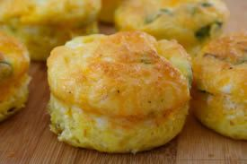Egg Muffins.  Easy to make ahead of time and eat on the go!  No carbs!