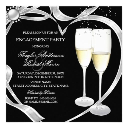 Elegant Black Silver & Gold Engagement Party