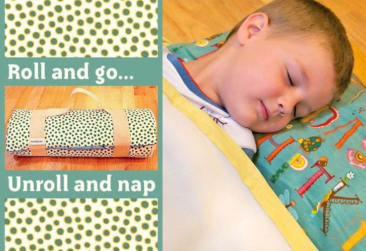 Roll up nap blanket with built-in pillow! Flannel on back, fleece blanket on front.  Pillow is just a slightly larger top portion filled with fiberfill.