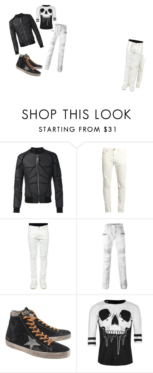 """walking on de moon"" by francescox on Polyvore featuring Philipp Plein, Yves Saint Laurent, Valentino, Balmain, Golden Goose, Iron Fist, men's fashion e menswear"