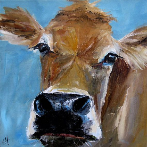 Cow Painting Izzy Reproduction on stretched by ArtPaperGarden, $35.00